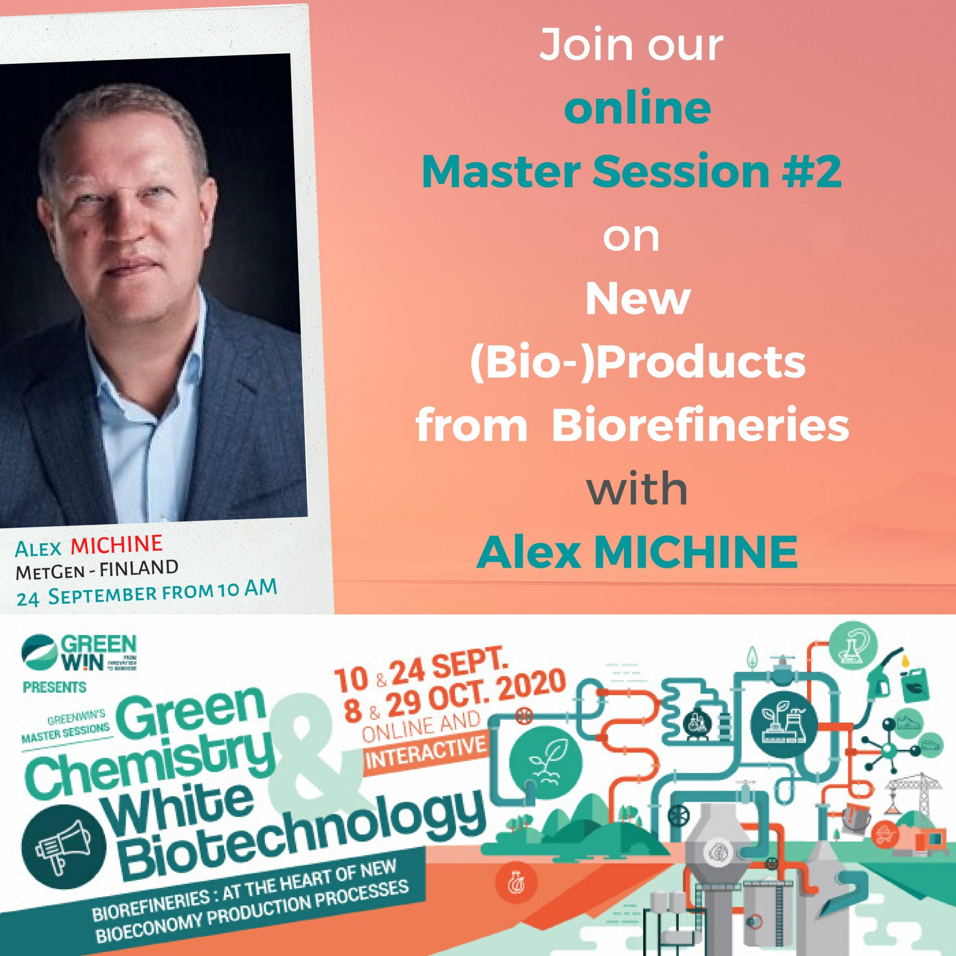 Meet Alex MICHINE  from MetGen - Finland, on our online Master Session #2 on 24 September at 10 AM